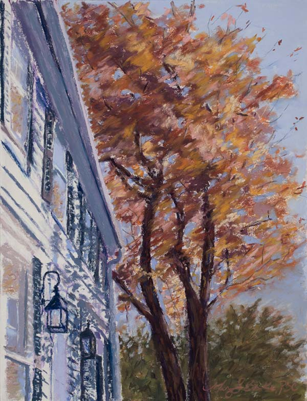 The composition of this autumnal New England scene highlights the intersection of aesthetic in nature and architecture in a colonial house with a fall tree by Mary Benke