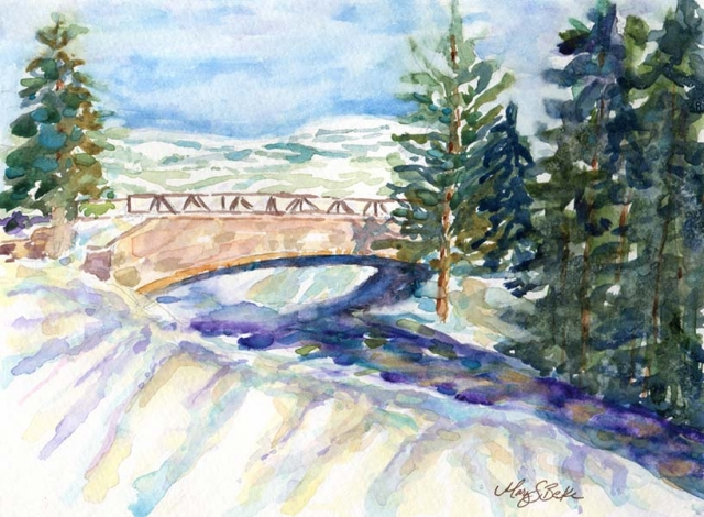 Watercolor landscape painting of a bridge a river in the snow in the Colorado mountains featuring pine tress and pastel-colored shadows by Mary Benke