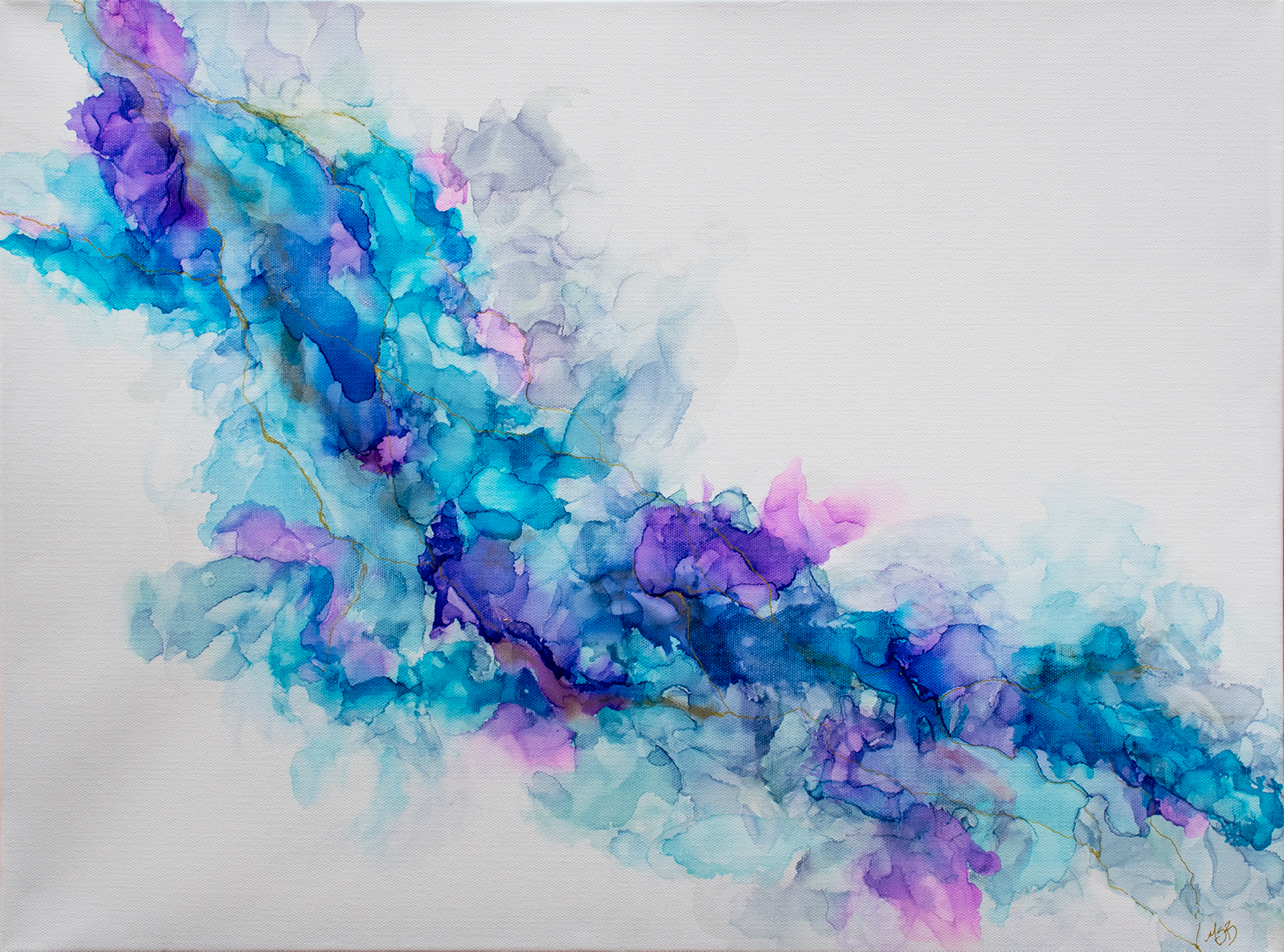 Abstract painting of teal, blue, and purple with gold veins in alcohol ink on canvas by Mary Benke