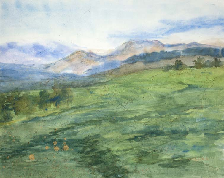 Abstract watercolor/mixed media landscape of rolling green hills with distant mountains and soft clouds with touches of gold by Mary Benke