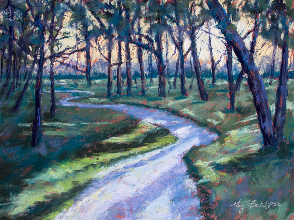 In this peaceful pastel painting, a winding path is striped with colorful shadows leading through a wooded glen at sunset by Mary Benke.