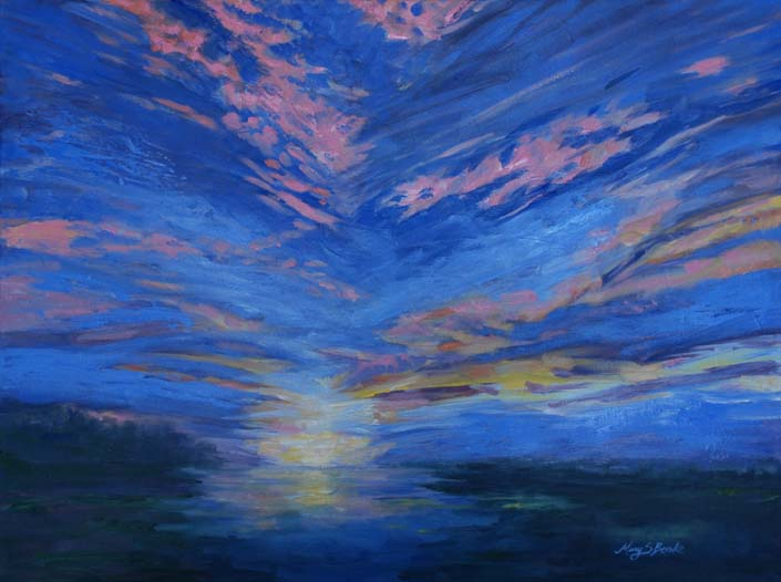 Oil sunset painting of a spectacular sky in blues, oranges, pinks, and yellows by Mary Benke