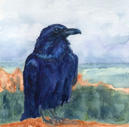 Overlooking a scenic watercolor vista in the West, this majestic raven is depicted in brilliant dark blues and violets by Mary Benke