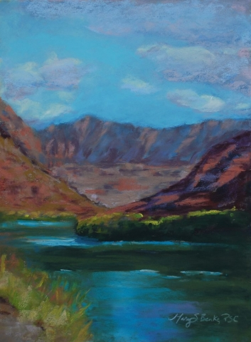Pastel landscape painting of a scene along the Colorado River featuring water, rocks, mountains, and Fisher Towers in Utah near Moab by Mary Benke