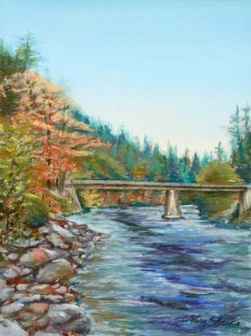 Landscape pastel painting of the Klickitat River in Washington in autumn colors and a rushing river by Mary Benke