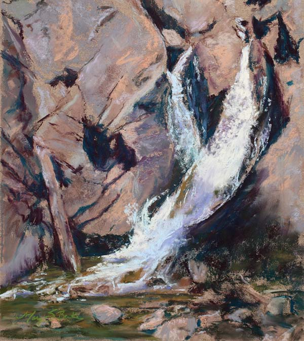 Pastel landscape painting of a dramatic waterfall against lavender and pink rocks falling into a brilliant green pool in Rocky Mountain National Park by Mary Benke