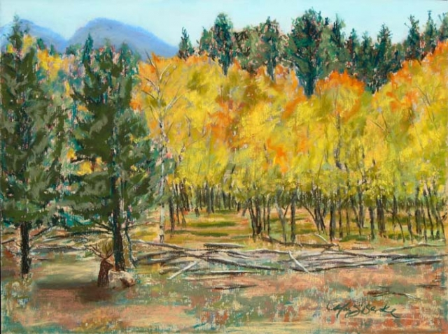 Pastel landscape painting of yellow aspens and pines in the Rocky Mountains in the fall with an elk resting beneath by Mary Benke