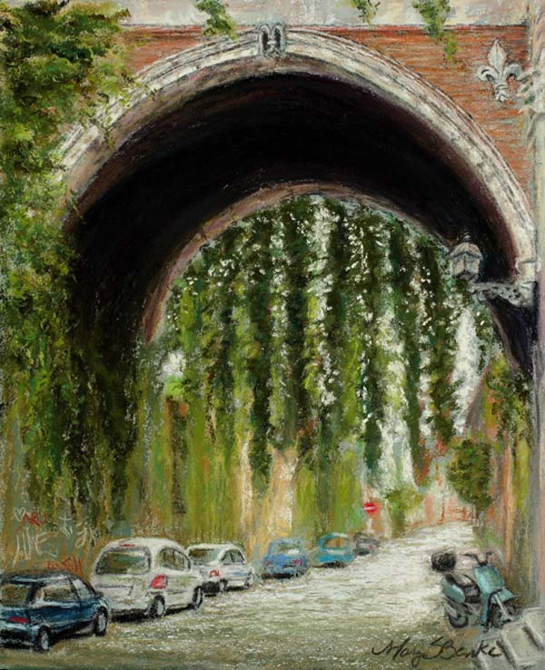Contrasts between the ancient stonework and the modern European cars as well as the nature (vines) in the city complete with Italian graffiti on the left side of a dark arch by Mary Benke