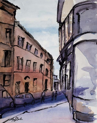 A loose watercolor and ink painting depicts a typical Italian scene with weathered brick buildings, an outdoor cafe, and cars by Mary Benke