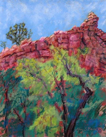 Pastel landscape painted en plein air of a unique red rock formation with bright teal and green foliage in the foreground by Mary Benke
