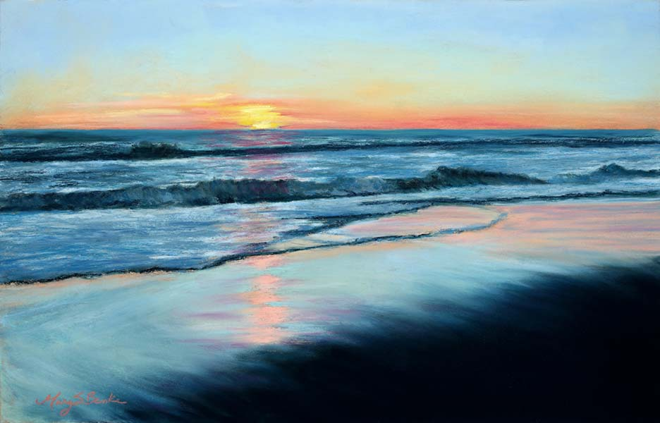 The sunset reflects in the sand as the water recedes from the shore in this serene pastel seascape by Mary Benke