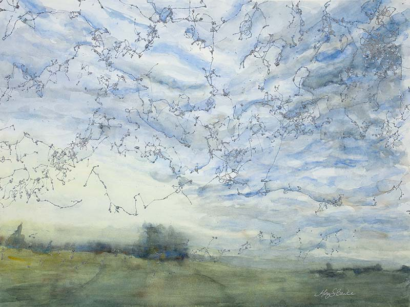 Abstract landscape painting of a field with a dramatic sky with silver touches by Mary Benke