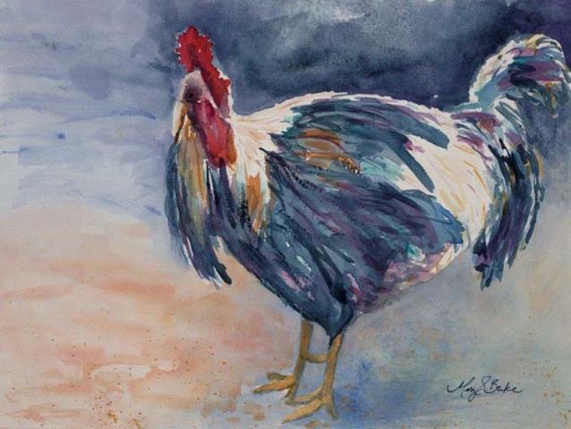 Strutting about the barnyard, this lone rooster proudly displays his indigo, turquoise, and gold plumage in this textured, bright watercolor by Mary Benke by Mary Benke