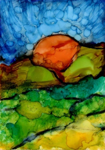 A brilliant orange sun sinks behind bright green and yellow hills in this abstract alcohol ink sunset landscape painting by Mary Benke