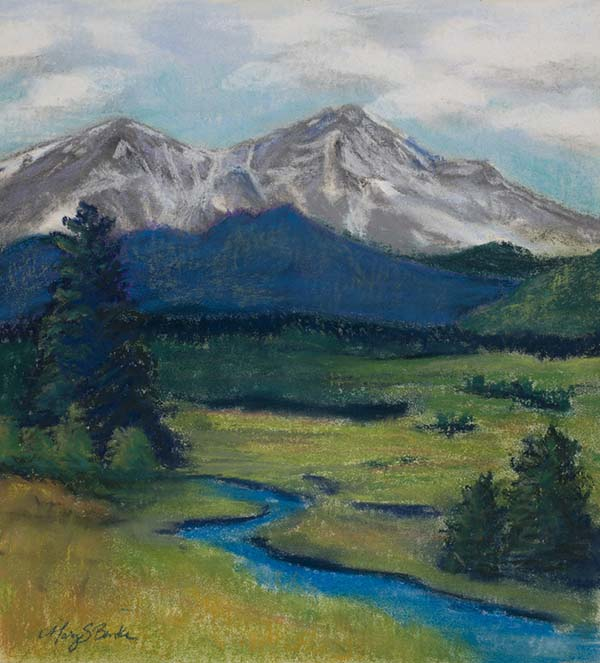 Pastel landscape painting of snow-capped Twin Peaks, well known Colorado mountains with a foreground of a blue stream and green foothills by Mary Benke