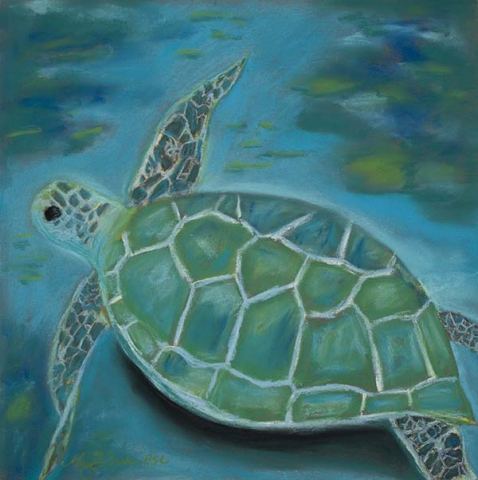 This underwater pastel painting of a sea turtle features beautiful blues, aquas and greens by Mary Benke