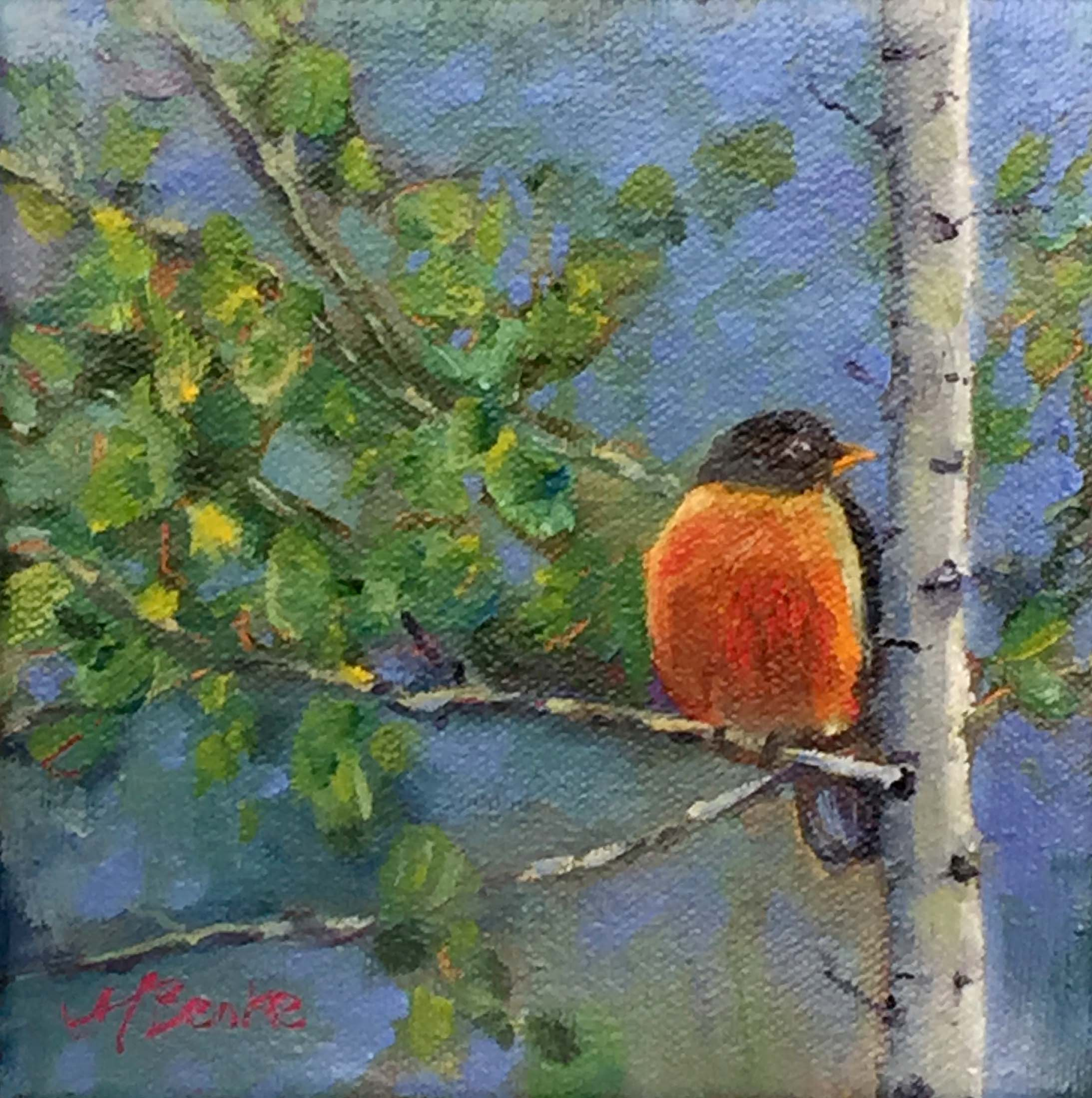 A harbinger of spring, a plump robin sits on an aspen tree branch in a square format oil painting by Mary Benke