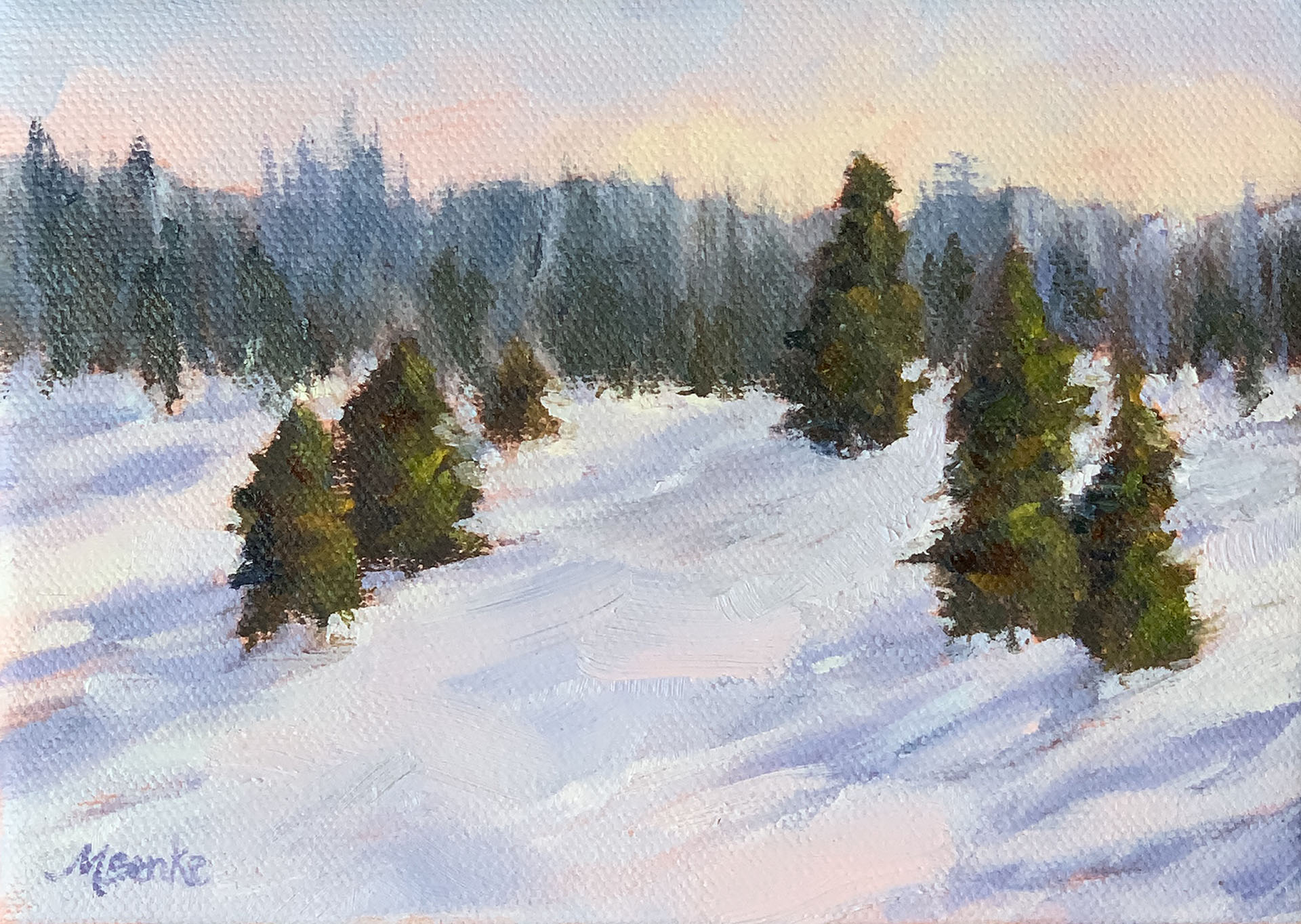 A warm glow lights the sky in this peaceful snow scene featuring pines and their dramatic shadows by Mary Benke