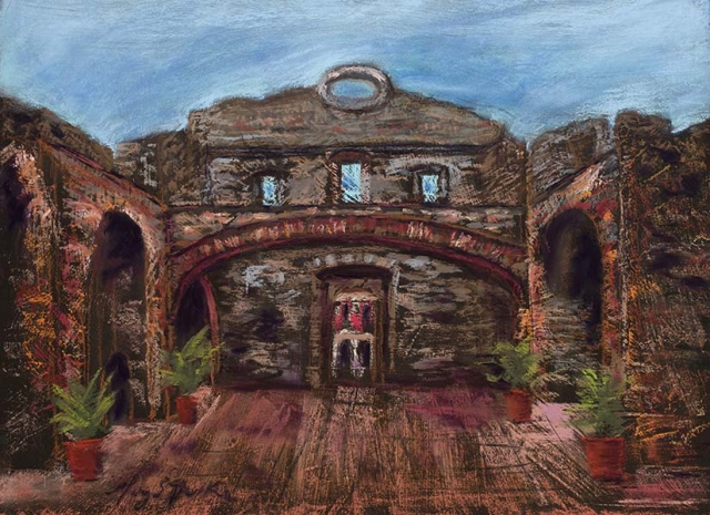 A colorful pastel depicting the Flat Arch in Panama originally constructed in the 17th century by Mary Benke