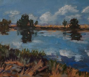 Oil painting of a slow moving river with cloud reflections by Mary Benke