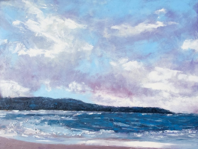 Waves crash on a wind-blown beach against dark blue hills and violet clouds in this moody seascape. Oil painting by Mary Benke