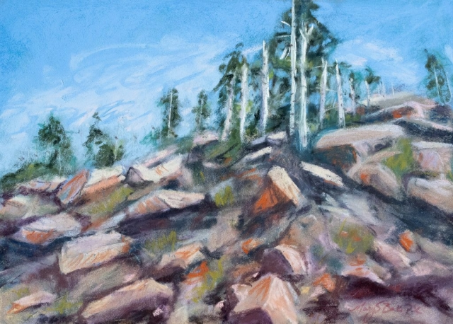 A dramatic view from Trail Ridge Road in Colorado's Rocky Mountain National Park highlights the rocks and pines seen looking up toward the peak on a windy day. Pastel painting by Mary Benke