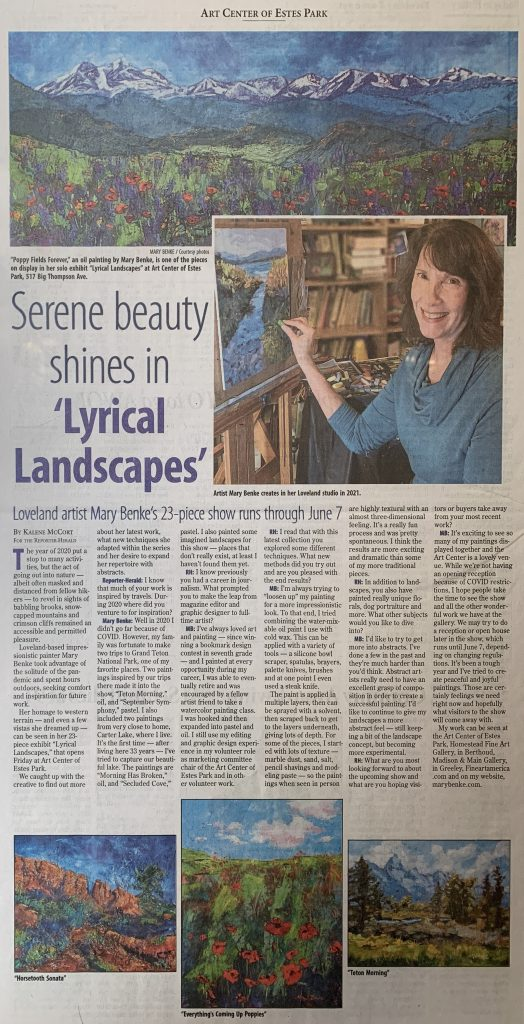 lyrical landscapes by mary benke reporter herald